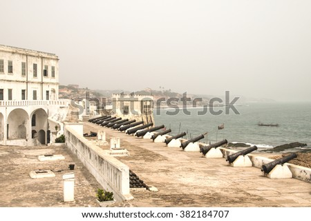 """The Cape Coast Castle in Ghana is one of about forty """"slave castles"""", or large commercial forts, built on the Gold Coast of West Africa - stock photo"""