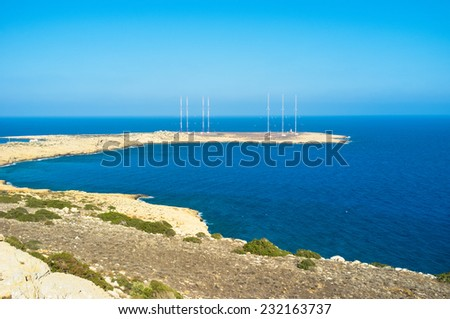 The Cape Greco with the British Radar System on the coastline, Cyprus. - stock photo