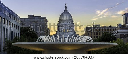 The capital building in Madison Wisconsin at dusk - stock photo