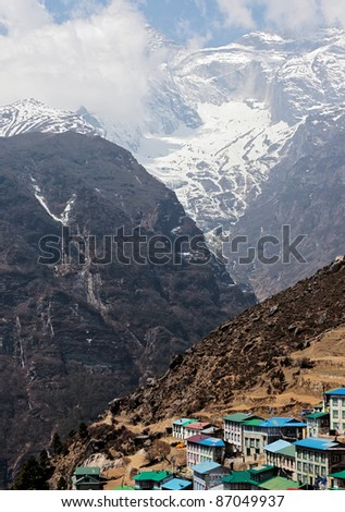 The capital of the sherpas of the city of Namche Bazaar - Nepal - stock photo