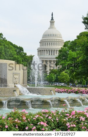 The Capitol and Senate Fountain - Washington D.C. United States of America - stock photo