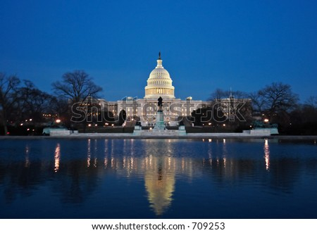The Capitol at night - stock photo
