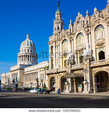 The Capitol building and the Great Theater of Havana on a beautiful  summer day - stock photo