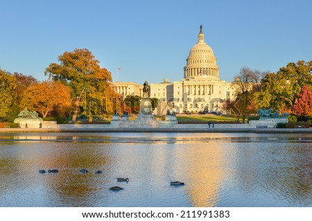 The Capitol in Autumn - Washington D.C. United States of America - stock photo