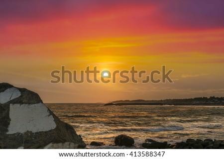 The Captivating Sunset of Kanyakumari (Laccadive Sea or Lakshadweep Sea) in the Indian Ocean. - stock photo