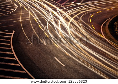 The car light trails - stock photo