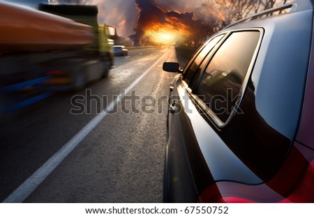 The car on the highway. Sunset - stock photo