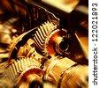 The car's engine closeup - stock photo