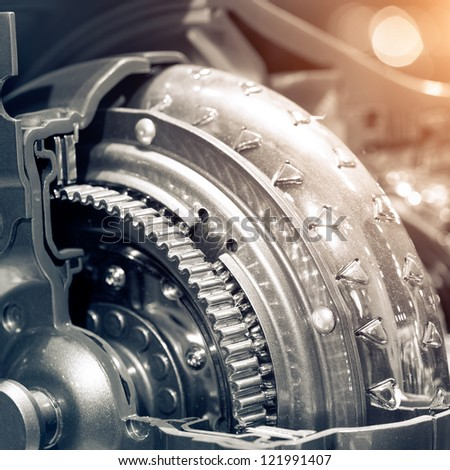 The car's engine closeup - stock photo
