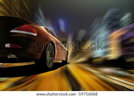 The car sped along the road - stock photo