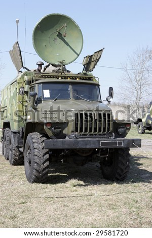 The car with radar of Army Signal Corps - stock photo