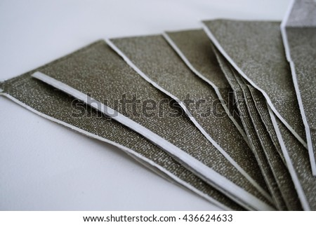 The carbon payslips on white background,Salary payroll slip.Soft focus. - stock photo