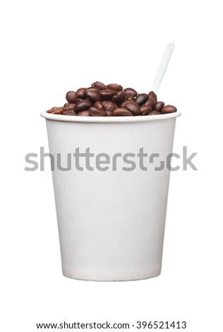 the cardboard disposable cup with coffee and spoon on white background - stock photo