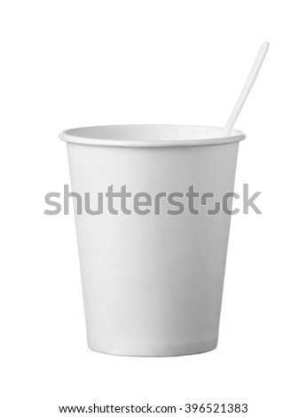 the cardboard disposable cup with spoon isolated on white background - stock photo