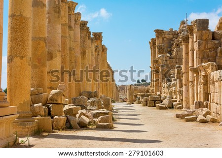 The Cardo Maximus street in Jerash ruins Jordan - stock photo