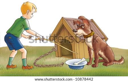 The careless boy teases a malicious dog - stock photo