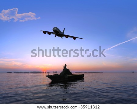 The cargo ship and plane on a background of the sea - stock photo