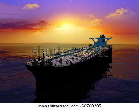 The cargo ship in the sea - stock photo