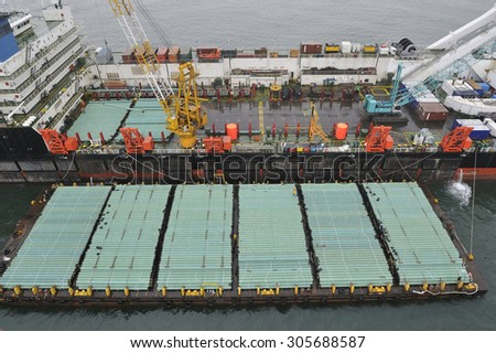 The cargo ship with the crane, the top view. - stock photo