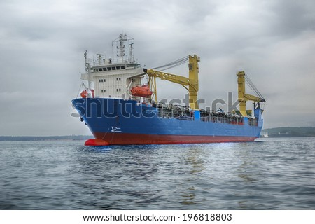 The cargo shipfor transportation vehicles  in the sea - stock photo