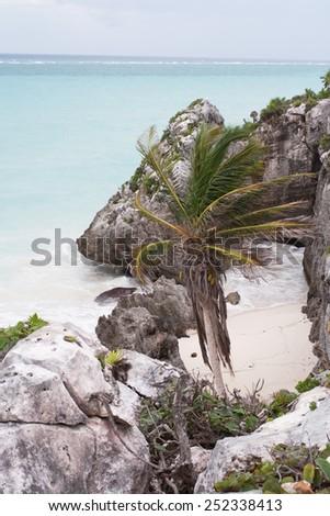 The Caribbean sea in Tulum, Mexico. - stock photo