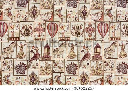 The carpet with Cappadocian motifs - stock photo