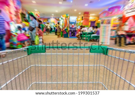 The cart in indoor amusement park - stock photo