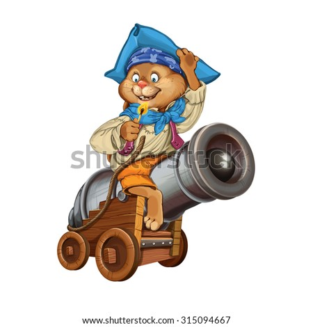 The cartoon hare the gunner prepares for firing from a gun on a white background. Invitation card for a holiday or birthday. Raster illustration - stock photo