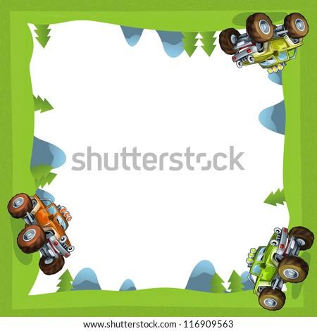 The cartoon monster truck - illustration for the children - stock photo