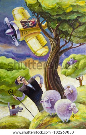 The cartoon yellow retro propeller airplane with the surprised pilot is flying over the haughty shepherd and his small flock of sheep. The modern oil painting on canvas.  - stock photo
