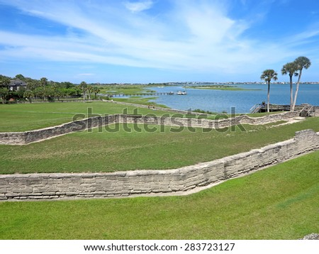 The Castillo de San Marcos Fort in St Augustine, Florida looking towards the Atlantic          - stock photo