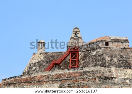 The Castillo San Felipe de Barajas is a fortress in the city of Cartagena, Colombia.  - stock photo