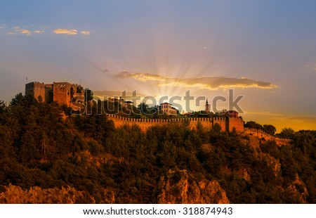 The castle in Alanya built on the hill above the beach of Cleopatra. Turkey - stock photo