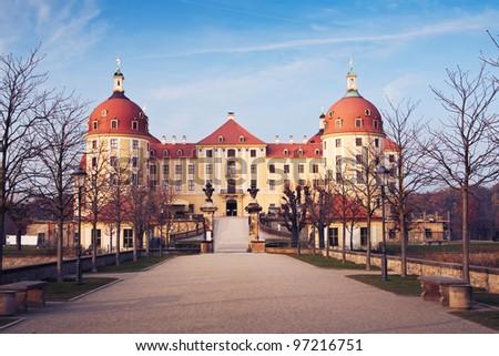 the Castle Moritzburg near Dresden and Meissen - Saxony - Germany - stock photo
