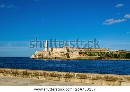 The castle of El Morro, a symbol of Havana, Republica de Cuba - stock photo