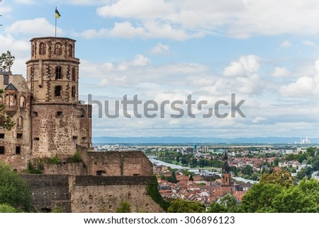 the castle of heidelberg and the lowlands behind - stock photo