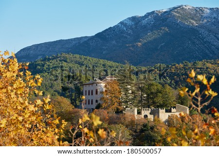 The castle of Pablo Picasso in Vauvenargues village, Provence, France with the Saint Victoire mountain - stock photo