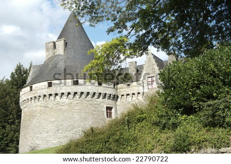 The castle Rohan was built by the lord of Josselin in the fifteenth century. - stock photo
