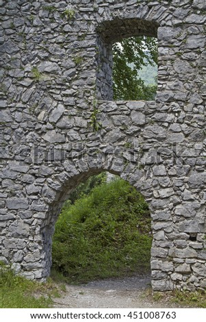 The castle ruins Werdenfels located about 80 meters above Loisach Valley and gave all the province its name - stock photo