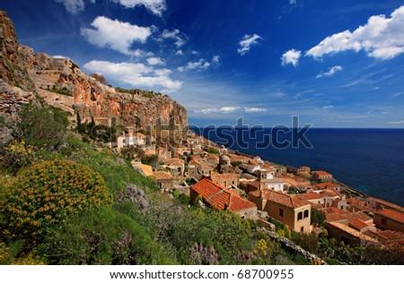"The ""castle-town"" of Monemvasia - stock photo"
