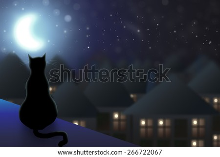 The cat sits on the roof and watching the city at night and the moon. - stock photo