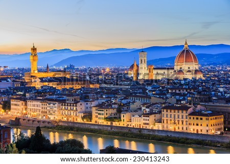 The Cathedral and the Brunelleschi Dome at sunset. Florence Italy - stock photo