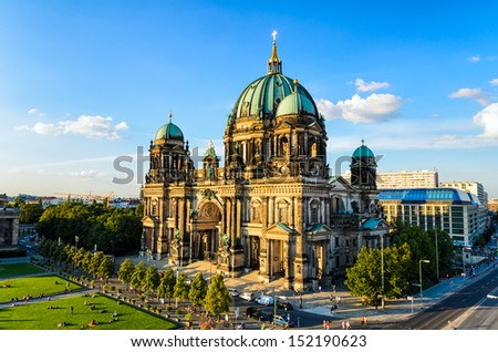 The Cathedral (Dom) of Berlin, Germany in golden evening light - stock photo