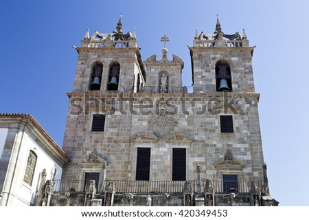 The Cathedral is one of the oldest churches in the city of Braga, Portugal - stock photo