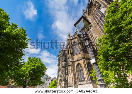 the Cathedral of Aachen at summer, germany - stock photo