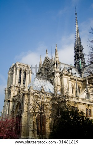 The cathedral of Notre Dame in Paris, France. - stock photo