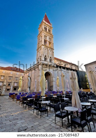 The Cathedral of St Lawrence in Town of Trogir main square, UNESCO world heritage site, Dalmatia, Croatia - stock photo