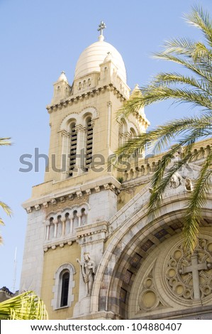 The Cathedral of St Vincent de Paul is a Roman Catholic cathedral Avenue Habib Bourguiba  in Tunis Tunisia Africa - stock photo