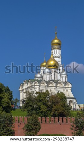 The Cathedral of the Archangel is a Russian Orthodox church dedicated to the Archangel Michael. view from Moscow river - stock photo