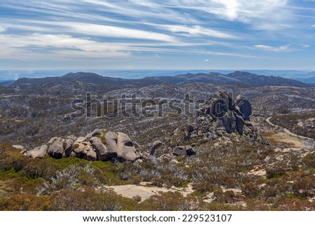 The Cathedral rock formation, Mt. Buffalo National Park, Victoria, Australia - stock photo